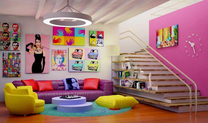 пример красивого дизайна дома в стиле поп арт