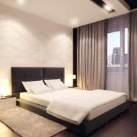 пример необычного оформления декора стен в спальне фото