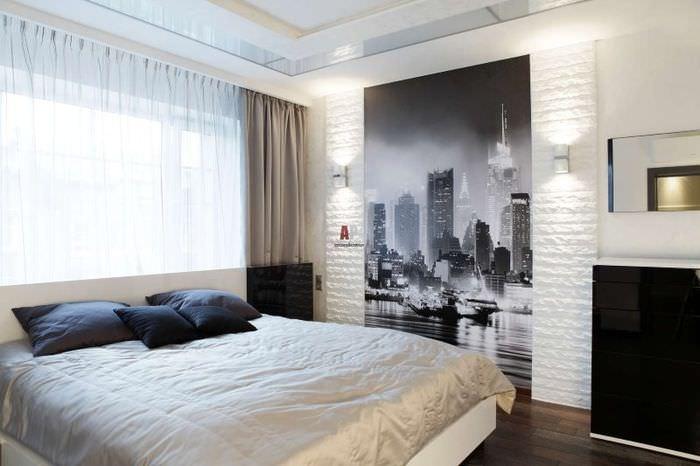 Фотообои с городом в стиле ретро на стене спальни