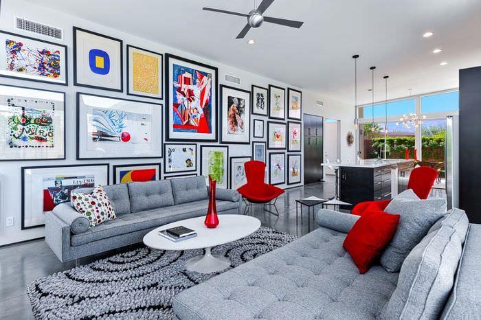 Картины и рисунки в дизайне гостиной