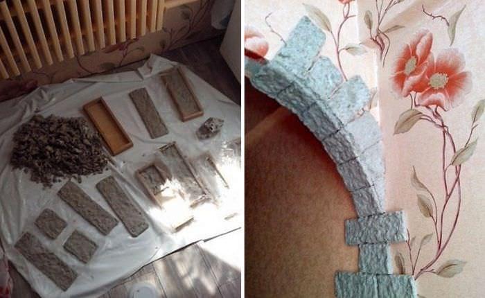 Изготовление своими руками бумажных кирпичиков для декорирования стены