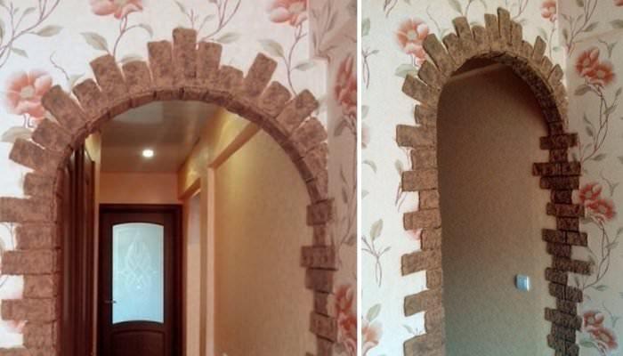 Декорирование арки самодельными кирпичиками из папье-маше
