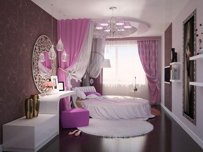 Кровать круглой формы в интерьере спальни 12 квадратов