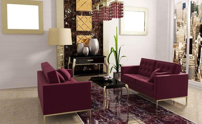 Мягкая мебель в интерьере гостиной комнаты