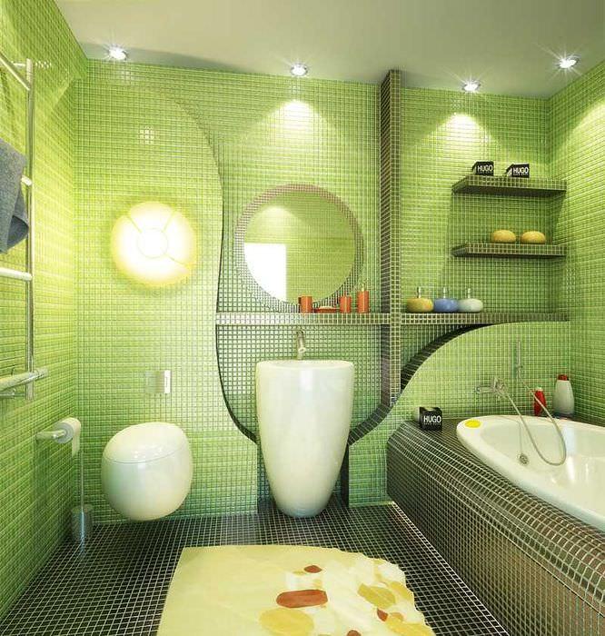 Керамическая мозаика в дизайне совмещенного санузла