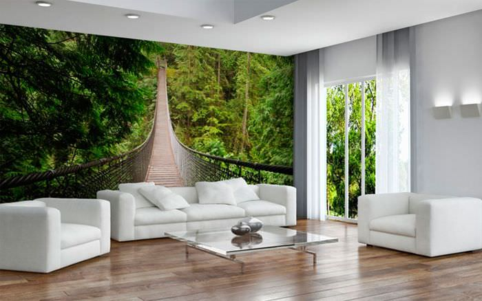 Объемные обои в декорировании стены над диваном