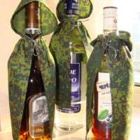 Бутылки в камуфляжных плащ-платках в подарок