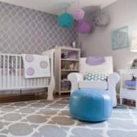 Интерьер комнаты для новорожденного в пастельных тонах