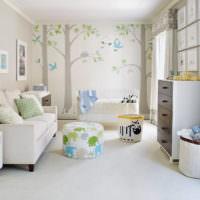 Детская комната для новорожденного в кремовом цвете