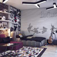 Дизайн стен гостиной в стиле лофт