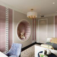 Круглая декоративная ниша в стене спальни