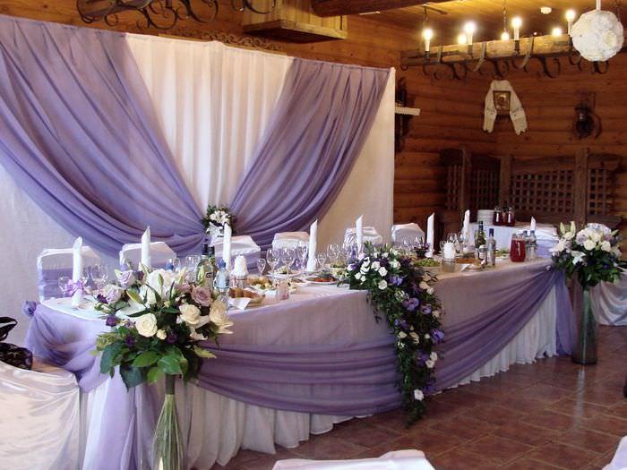 Свадебное оформление зала и стола фото