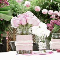Цветочные вазы своими руками для свадебного стола