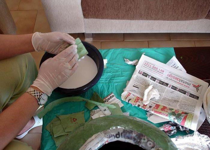 Оклейка вазы своими руками в технике папье-маше