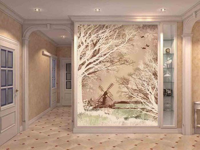 Декоративное панно в виде картины на стене гостиной