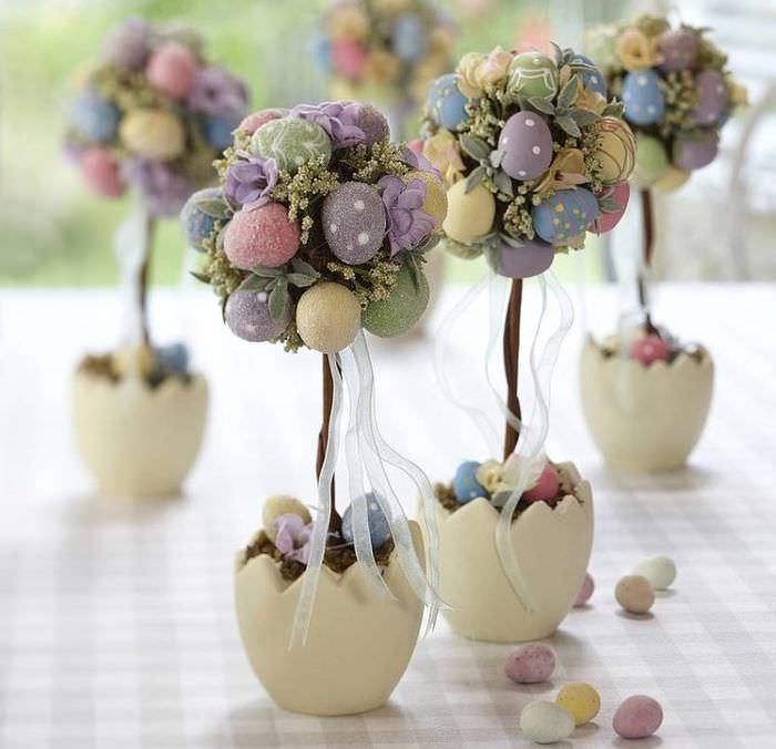 Пасхальное дерево из яиц к праздничному столу своими руками