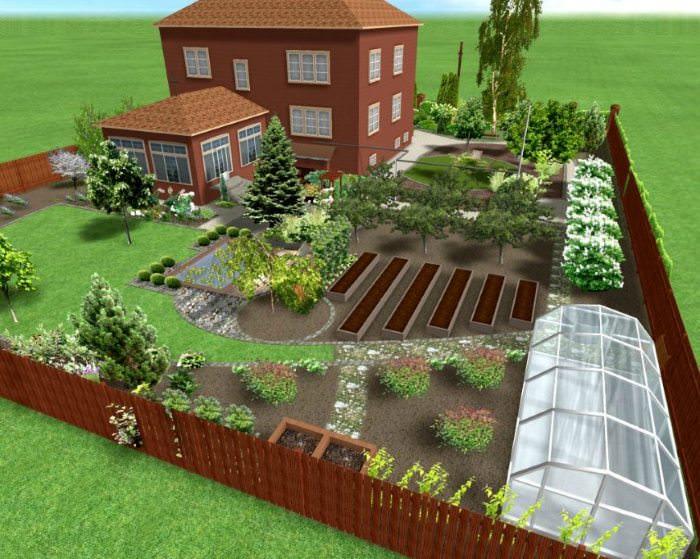 Ландшафтный проект участка в 6 соток с двухэтажным домом
