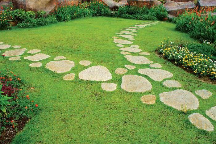 Садовая дорожка из плоского камня