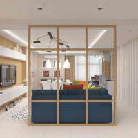 вариант применения перегородки в дизайне комнаты фото