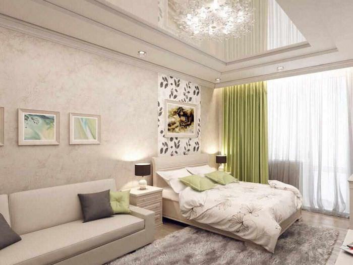 вариант яркого дизайна гостиной 20 метров