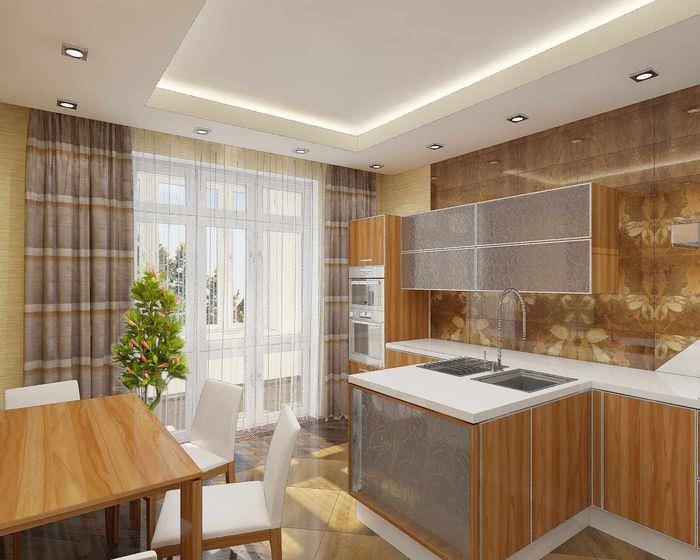 пример необычного дизайна потолка кухни