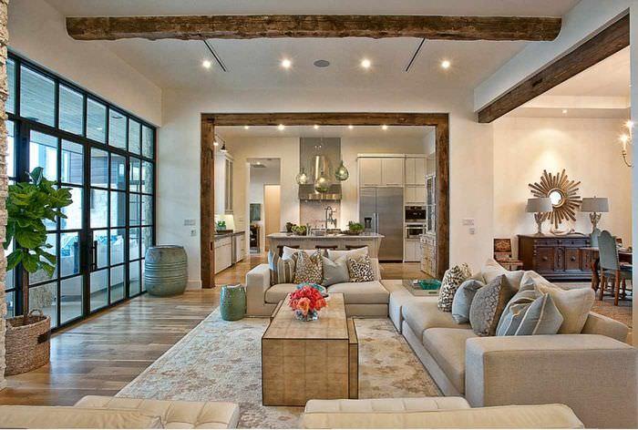 пример необычного дизайна гостиной
