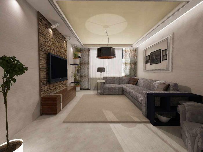 пример светлого интерьера гостиной спальни 20 метров