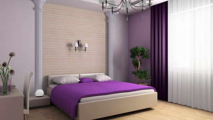пример светлого интерьера спальной комнаты