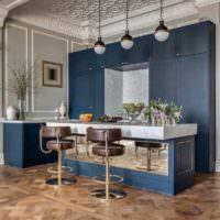пример красивого интерьера потолка на кухне фото