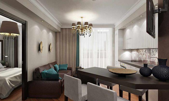 вариант светлого дизайна гостиной