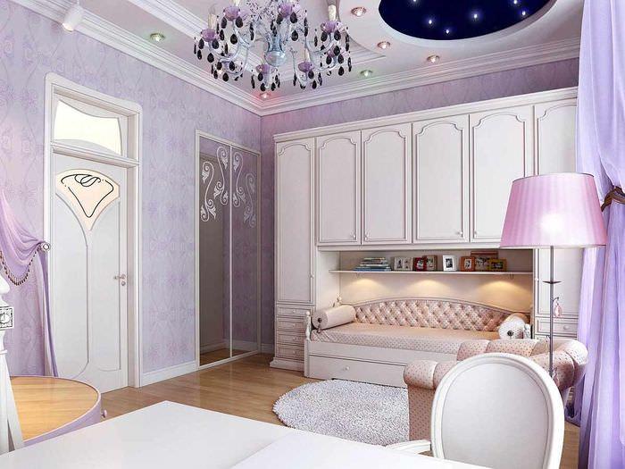 вариант необычного стиля спальной комнаты