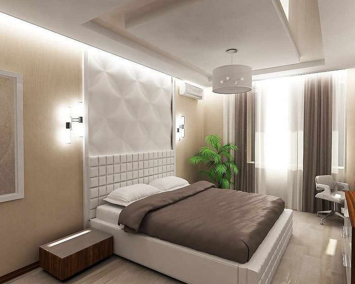 пример красивого украшения стиля стен в спальне