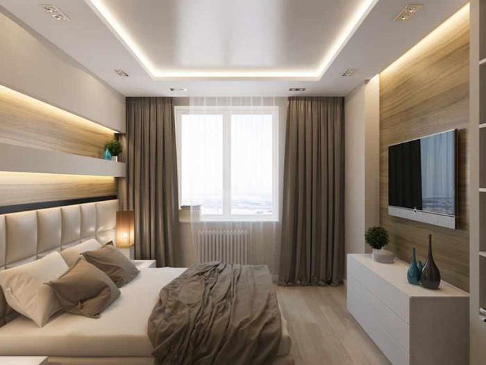 спальня в прямоугольной комнате дизайн фото растения, обзор