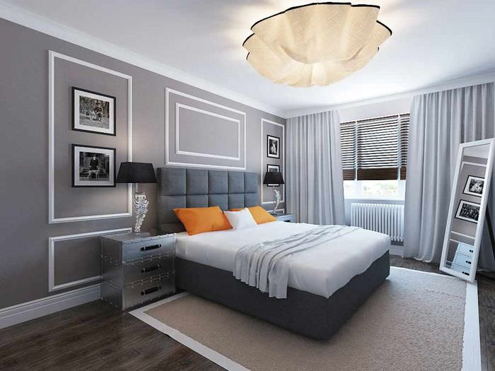 пример необычного проекта интерьера спальной комнаты