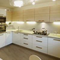 пример светлого проекта интерьера кухни картинка