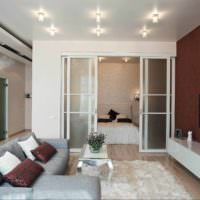 вариант яркого интерьера гостиной спальни 20 метров фото