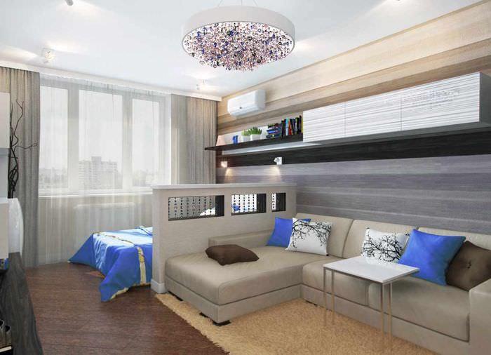 пример красивого дизайна гостиной спальни 20 метров