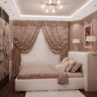 пример светлого оформления декора стен в спальне картинка