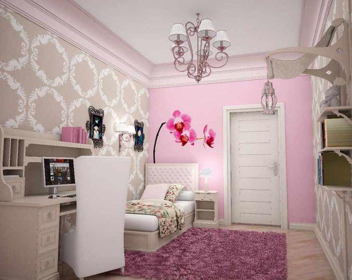 вариант светлого дизайна детской комнаты для девочки