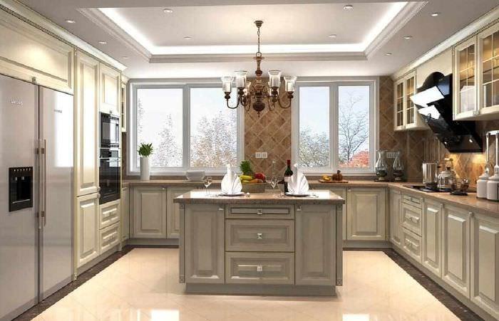 вариант красивого интерьера потолка кухни