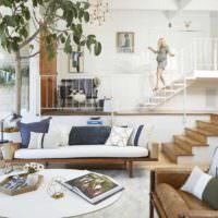 пример красивого дизайна проходной гостиной фото