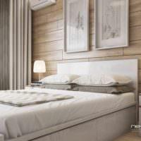 пример светлого украшения дизайна стен в спальне картинка