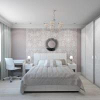 вариант светлого интерьера спальни 20 метров картинка