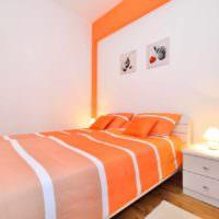 идея сочетания необычного персикового цвета в дизайне квартиры картинка