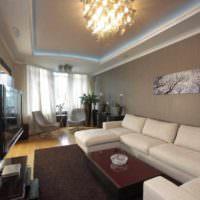 пример светлого стиля проходной гостиной картинка