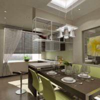 пример красивого дизайна потолка кухни фото