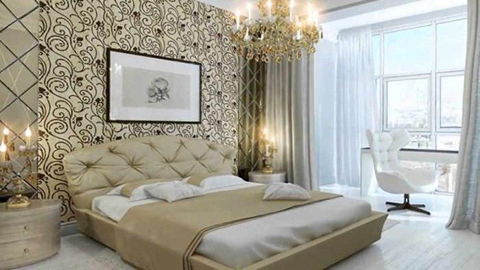 идея необычного украшения дизайна стен в спальне
