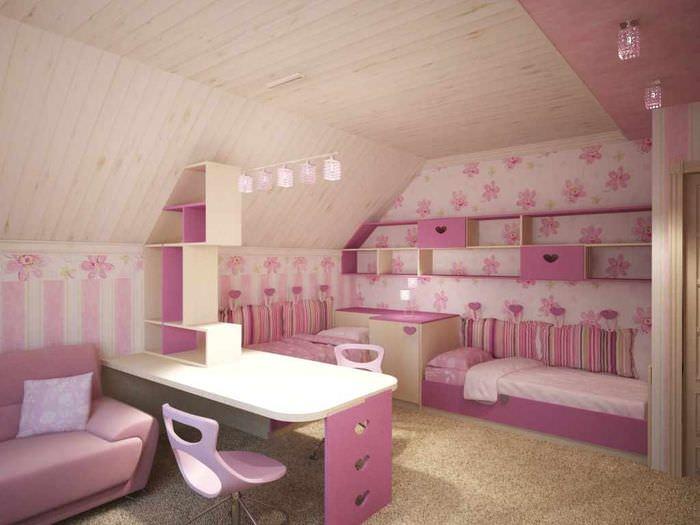вариант красивого дизайна детской для девочки