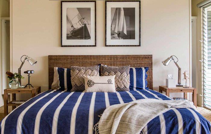 идея светлого дизайна изголовья кровати
