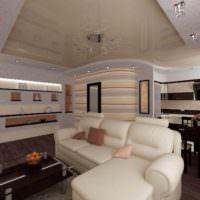 вариант светлого интерьера гостиной спальни 20 метров картинка